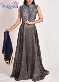 Vasansi Aegean Blue Cotton Anarkali Suit