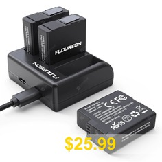 FLOUREON #Batteries #3 #Pack #and #3-Channel #LED #USB #Charger #for #GoPro #Hero #5 #Hero #6 #Hero #7 #Black