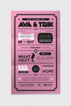 The story of Ava & Trik / Poster #pink #dog #poster #typography