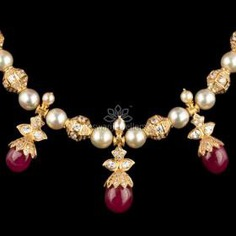 Elegant Pearl String With Ruby Pota Drops from