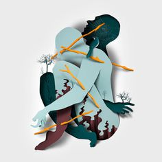 New Editorial Illustrations Incorporating Cut Paper Textures and Shadows by Eiko Ojala