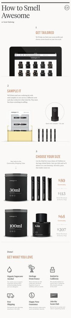 How Commodity Works #white #packaging #black #website #perfume #info #fragrance #cologne #minimal #leather #and #graphics #typography