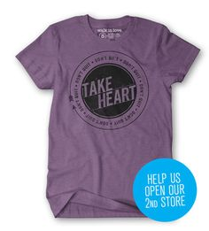 Take Heart tee > Walk in Love #badge #in #tshirt #seal #purple #love #walk