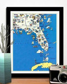 Vintage FLORIDA retro funny map 10 x 12 by AncientShades on Etsy #old #maps #prints #florida #city #map #vintage #funny