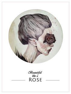 Illustration #rose #beutiful #drawing #woman