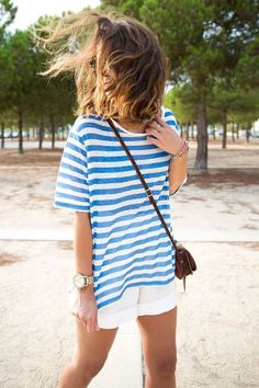 Likes | Tumblr #white #stripes #girls #fashion #blue