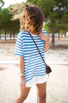 Likes   Tumblr #white #stripes #girls #fashion #blue