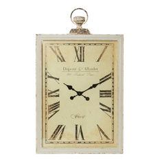 Cheval Antique Cream Rectangle Dupont Wall Clock