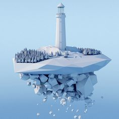 lighthouse #blue #island #lighthouse #c4d #cinema4d #low #poly #low ploy