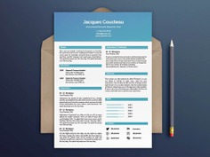 The Cousteau Resume - Free Two Columns Resume Template