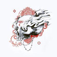 2013. #ink #red #draw #black #skull #death