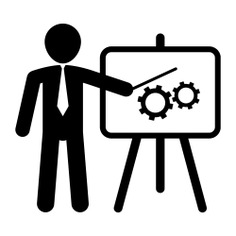 See more icon inspiration related to project, board, worker, businessman, graphic, presentation, working, people, showing and business on Flaticon.