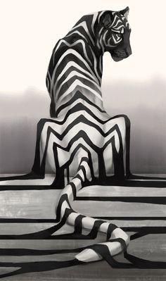 Tiger, Black & White, Illustration