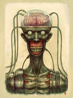Marv the candy man by maddagone #corpse #horror #brain #wires #candy #illustration #art #zombie #man