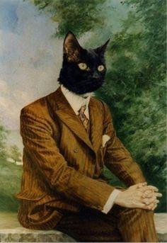 cat #old #cat #human #painting #man #morph #animal