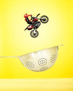 motorcycle, colander