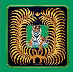 Christiane Vauzelles, 1977 #christiane #scarf #silk #tiger #vauzelles #green