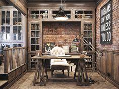 Vintage office for a private residence Denis Krasikov - www.homeworlddesign. com (2) #office #interiors #vintage #workspace