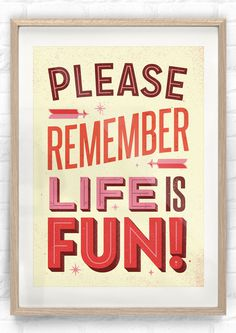 LIFE IS FUN #60s #modern #print #screen #mid #vintage #poster #century #typography
