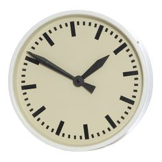 Mavis White Metal Round Wall Clock, 33 cm D