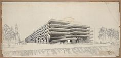 Temple Street Garage, New Haven, 1959-63 by Paul Rudolph #illustration
