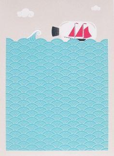 Made By Morris #printed #silkscreen #bottle #print #at #sea #boat #hand