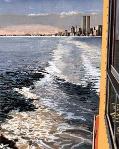 Study VI, New York Harbor #new york #woodcut #richard estes #1997