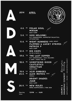 ADAMS Club & Restaurant poster. Design: Tony Eräpuro #layout #mobile #responsive #masonry #website restaurant #club #helsinki