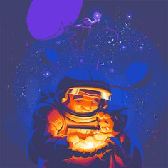 space, astronaut, illustration