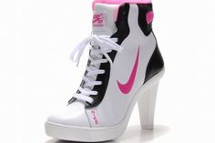 Nike Dunk SB Mid Heels White/Pink/Black #shoes