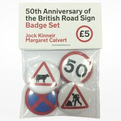 Design Museum | 50th Anniversary of the British Road Sign Badge Set #design