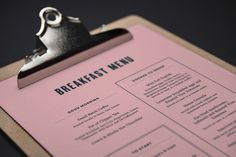 Menu design for Artist Residence #restaurant #hotel #menu
