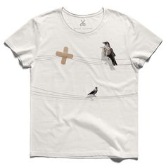 #sakinlik #offwhite #tee #tshirt #tomstoppard #calmness #bird #bandaid #corvus #wire