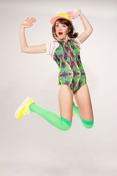 Lookbook - Bethan Heslop — Graduate Collection #model #pink #neon #print #jeans #varsity #sportswear #hat #fashion #green