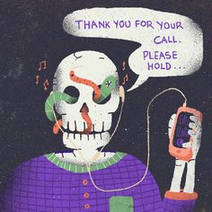 #illustration #call-center #call #mobile #skull #worms