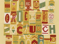 Eric Church (Canadaigua, NY) Landland #beer #illustration #drawn #vintage #hand #can #typography