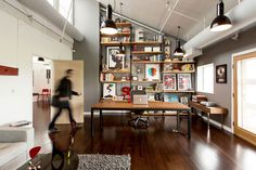 Ty Mattson SND CYN creative office www.mr cup.com #interior #loft #pleasant #workplace #office #design #wood #workspace #shelf