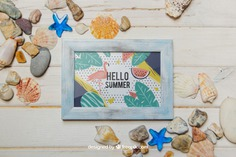 Summer concept with frame and shells Free Psd. See more inspiration related to Frame, Mockup, Summer, Beach, Sea, Sun, Photo frame, Photo, Holiday, Mock up, Decorative, Vacation, Wooden, Summer beach, Marine, Up, Season, Wood frame, Concept, Stones, Shells, Composition, Mock, Summertime and Seasonal on Freepik.