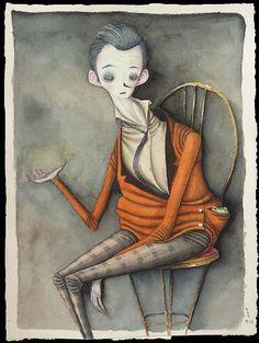 Boy With Frog In A Pocket #illustration #color
