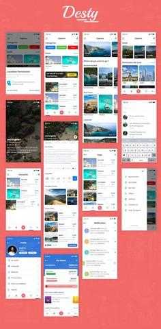 Desty – Travel App UI Kit