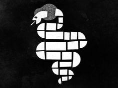 Dead Cobras, Cut Paper illustration
