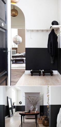 skona hem black wainscoting #interior #design #decor #deco #decoration