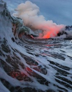 Hawaii Volcano erupting into Pacific #hawaii volcano #wave
