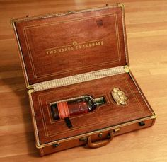 Custom Suitcase Holds Bourbon Whiskey, Brass Knuckles #printed #screen #suitcase #handmade