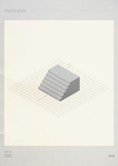 Concrete Heaven - Hadrien Degay Delpeuch #isometric #concrete #skatepark #print #skate #poster #skateboard #paper