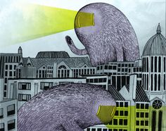This is a drawing of the view from my new D.C. apartment roof top (minus the friendly, laser-eyed, hairy monsters).—Ryan Crane