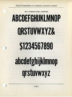 Alternate Gothic type specimen #type #specimen #typography
