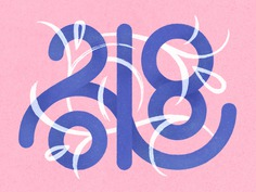 2018 typogaphy numbers lettering new year monogram type floral 2018