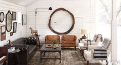 The Art Barn of Ellen DeGeneres and Portia de Rossi's Santa Monica ranch #walls #decor #leather