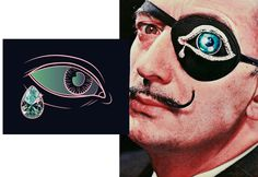 Salvador Dali's Eye brooch and Maria Umiewska's Sparkling Tear illustration